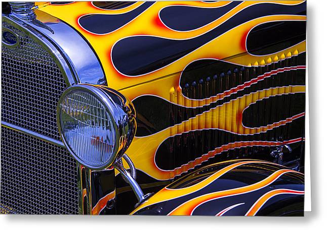 Motorized Greeting Cards - 1929 Model A 2 Door Sedan With Flames Greeting Card by Garry Gay