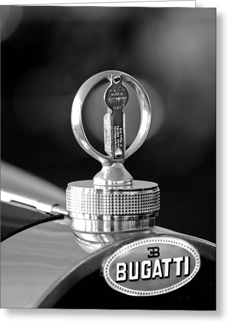 Vintage Hood Ornament Greeting Cards - 1930 Bugatti Hood Ornament Greeting Card by Jill Reger