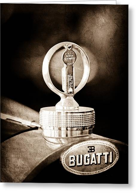 Supercharged Greeting Cards - 1930 Bugatti Type 43 Supercharged Sports Emblem - Moto Meter Greeting Card by Jill Reger