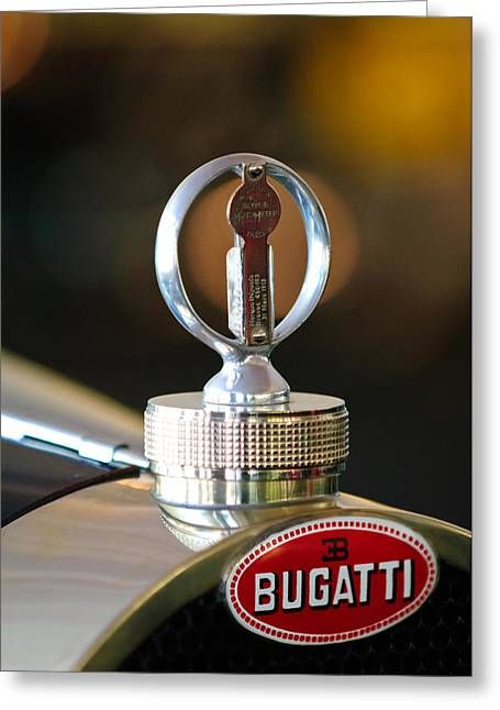 Supercharged Greeting Cards - 1930 Bugatti Type 43 Supercharged Sports Hood Ornament Greeting Card by Jill Reger