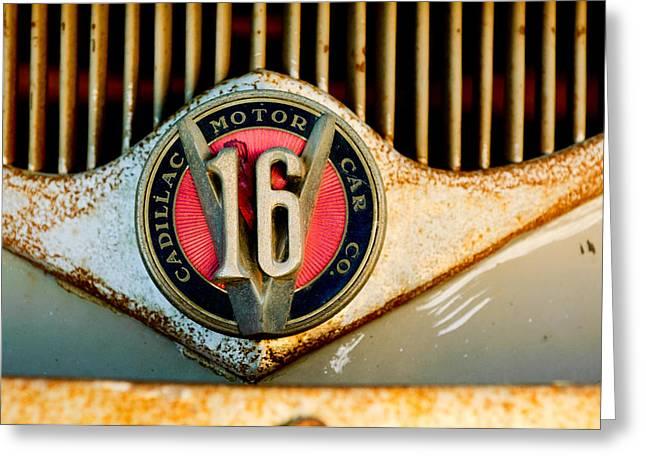 Ambulance Greeting Cards - 1930 Cadillac 452 V16 Ambulance Emblem Greeting Card by Jill Reger