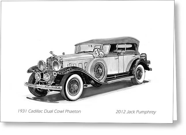 Pen And Ink Framed Prints Greeting Cards - 1931 Cadillac Phaeton Greeting Card by Jack Pumphrey