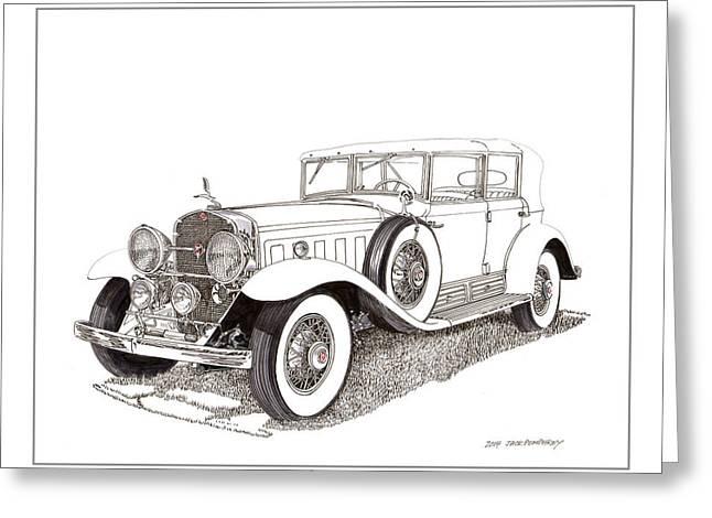 Help Drawings Greeting Cards - 1930 Cadillac V-16 Dual Cowl Phaeton Greeting Card by Jack Pumphrey