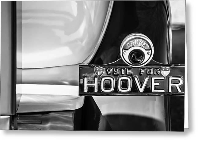 Hoover Greeting Cards - 1930 DB Dodge Brothers Taillight Emblem -030bw Greeting Card by Jill Reger