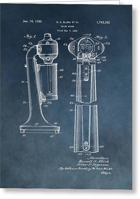 1930 Drink Mixer Patent Blue Greeting Card by Dan Sproul