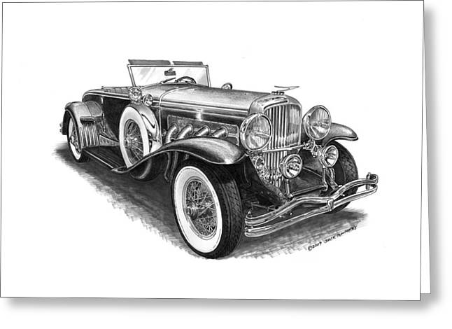 Pen And Ink Drawing Greeting Cards - 1930 Duesenberg Model J Greeting Card by Jack Pumphrey