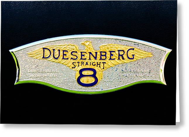 Dual Greeting Cards - 1930 Duesenberg Model J LWB Dual Cowl Phaeton Emblem Greeting Card by Jill Reger