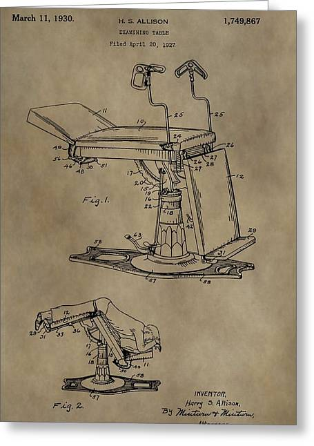 Historical Surgeon Greeting Cards - 1930 Examining Table Patent Greeting Card by Dan Sproul
