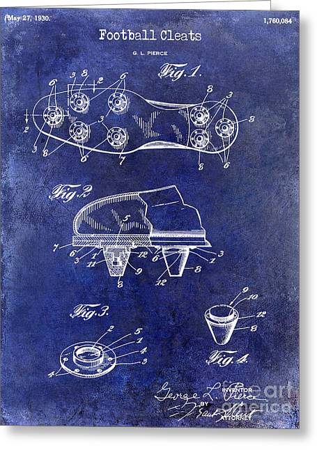 Fantasy Football Greeting Cards - 1930 Football Cleats Patent Drawing Blue Greeting Card by Jon Neidert