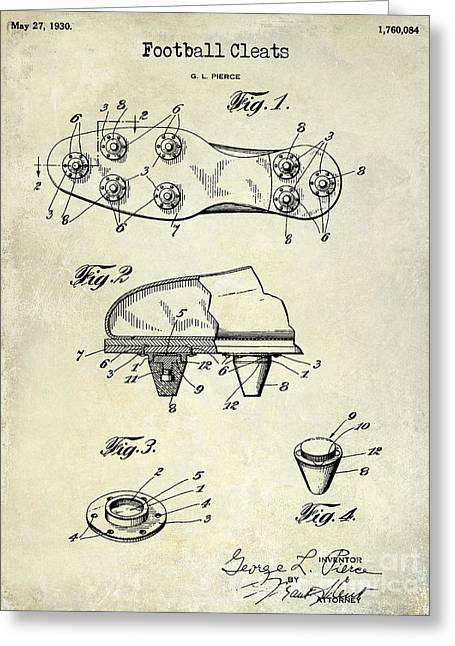 Fantasy Football Greeting Cards - 1930 Football Cleats Patent Drawing Greeting Card by Jon Neidert