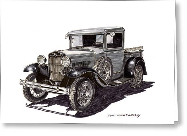 Custom Ford Greeting Cards - 1930 Ford Model A Pick Up Greeting Card by Jack Pumphrey