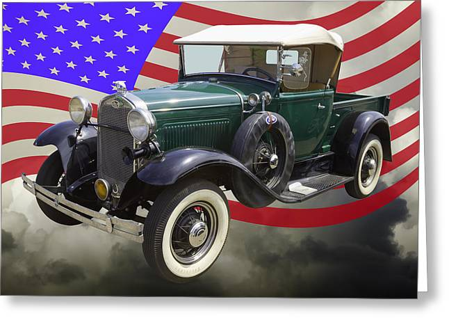 Horns Greeting Cards - 1930 Ford Model A Pickup Truck and US Flag Greeting Card by Keith Webber Jr