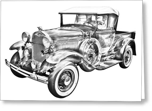 Classic Pickup Greeting Cards - 1930 Ford Model A Pickup Truck Illustration Greeting Card by Keith Webber Jr