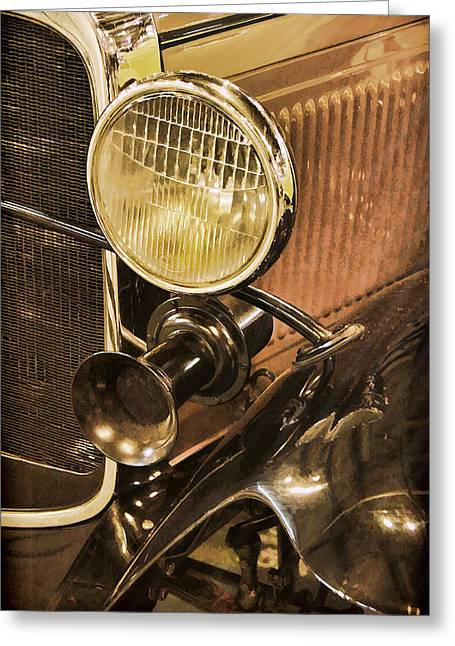 Rumble Greeting Cards - 1930 Ford Model A Rumble Seat Roadster Headlight and Horn Greeting Card by Ken Smith