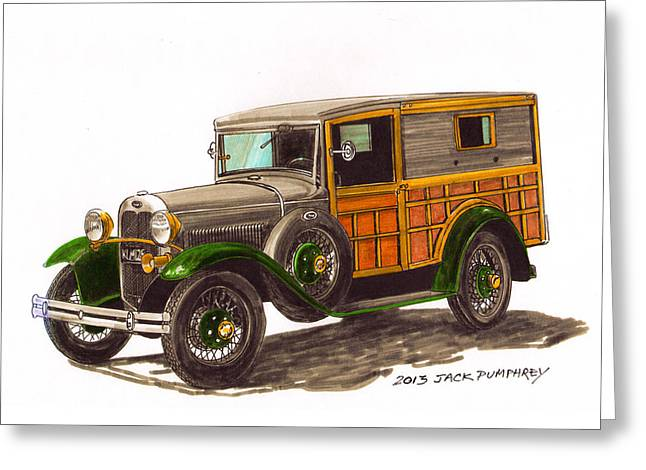 Station Wagon Paintings Greeting Cards - 1930 Ford Model A WOODY Greeting Card by Jack Pumphrey