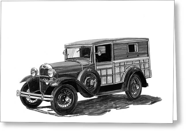 Height Drawings Greeting Cards - 1930 Ford Special Delivery Greeting Card by Jack Pumphrey