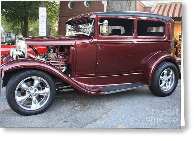 Black Top Greeting Cards - 1930 Ford Two Door Sedan Side View Greeting Card by John Telfer