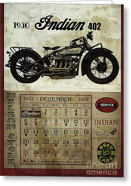 Motorcycle Digital Art Greeting Cards - 1930 Indian 402 Greeting Card by Cinema Photography