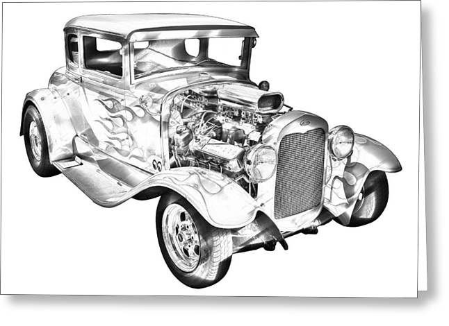 American Automobiles Greeting Cards - 1930 Model A Custom Hot Rod Illustration Greeting Card by Keith Webber Jr