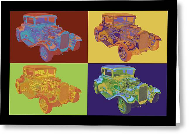 American Automobiles Greeting Cards - 1930 Model A Custom Hot Rod Pop Art Greeting Card by Keith Webber Jr
