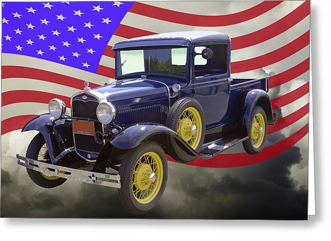 Old Trucks Greeting Cards - 1930 Model A Ford Pickup Truck And American Flag Greeting Card by Keith Webber Jr