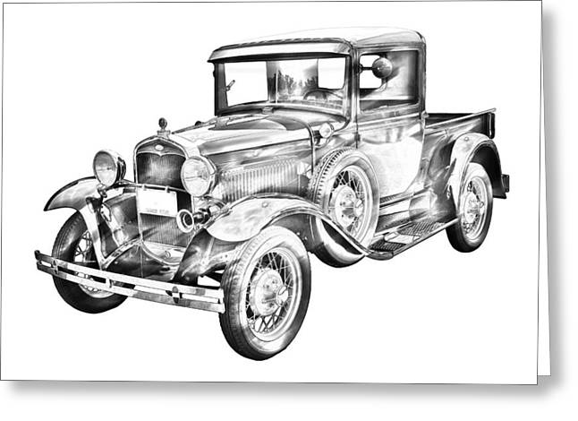Old Trucks Greeting Cards - 1930 Model A Ford Pickup Truck IIlustration Greeting Card by Keith Webber Jr