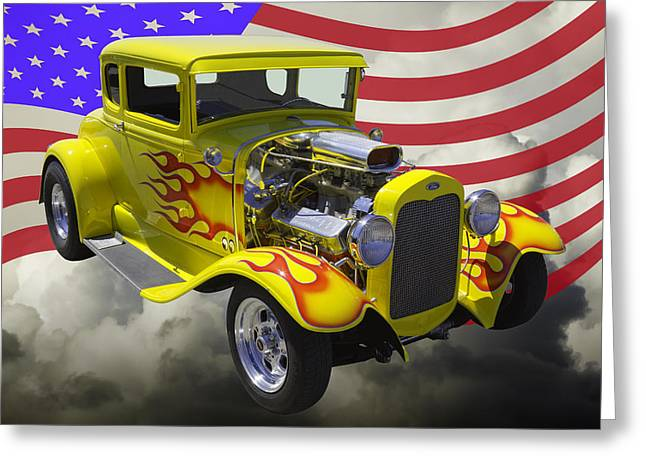 Custom Roadster Greeting Cards - 1930 Model A Hot Rod And American Flag Greeting Card by Keith Webber Jr