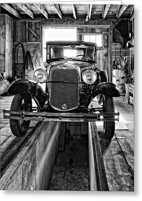 Best Sellers -  - Ford Model T Car Greeting Cards - 1930 Model T Ford monochrome Greeting Card by Steve Harrington