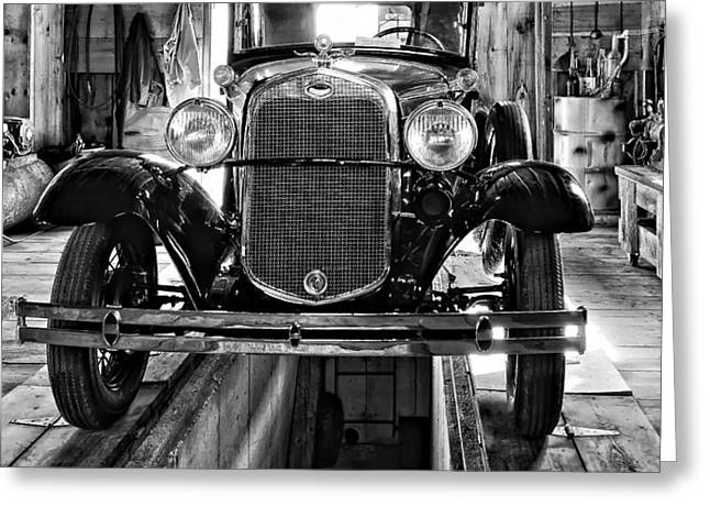 1930 Model T Ford monochrome Greeting Card by Steve Harrington