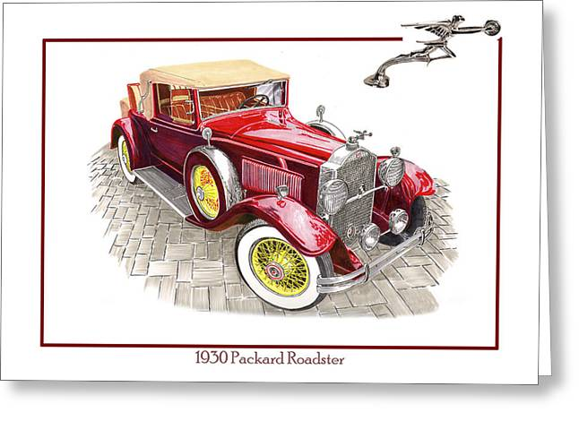 Wire Wheels Greeting Cards - 1930 Packard 733 Convertible Roadster Greeting Card by Jack Pumphrey