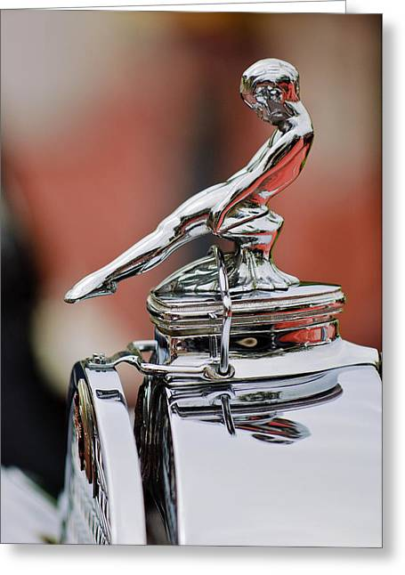 Runabout Greeting Cards - 1930 Packard 734 Speedster Boattail Runabout Hood Ornament Greeting Card by Jill Reger