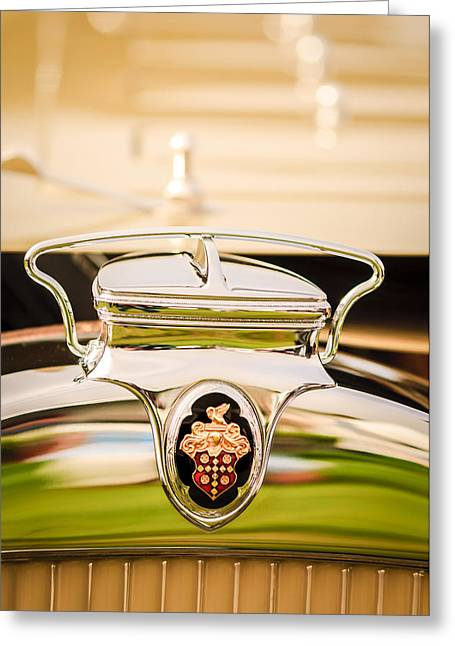 Runabout Greeting Cards - 1930 Packard Speedster Runabout Hood Emblem -2520c Greeting Card by Jill Reger
