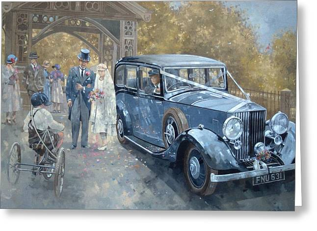 Married Couple Greeting Cards - 1930s Country Wedding Oil On Canvas Greeting Card by Peter Miller