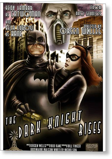 Hedy Greeting Cards - 1930s Dark Knight Rises Greeting Card by William Black