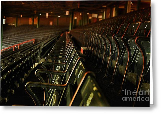 Red Sox Mixed Media Greeting Cards - 1930s Fenway Park Old Baseball Seats Greeting Card by Michael Braham