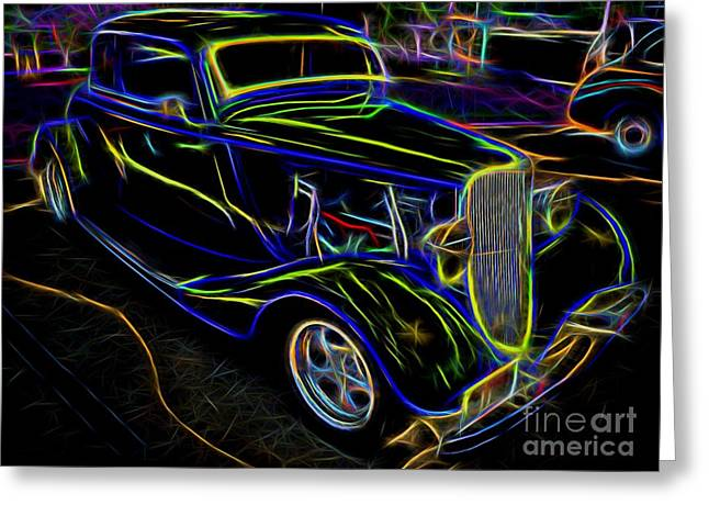 Decadence Greeting Cards - 1930s Ford Coupe Neon Abstract Greeting Card by Gary Whitton