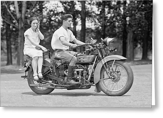 Motorcycle Greeting Cards - 1930s MOTORCYCLE TOURING Greeting Card by Daniel Hagerman