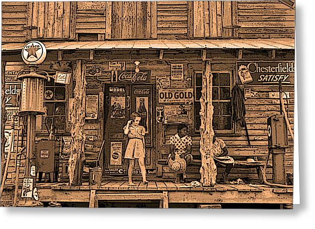 Screen Doors Greeting Cards - 1930s Old South General Store Greeting Card by Maureen Tillman