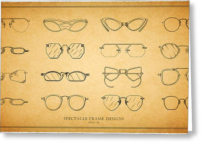 Eye Glasses Greeting Cards - 1930s Spectacle Designs Greeting Card by Mark Rogan