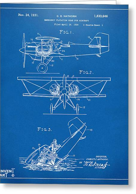 Emergency Greeting Cards - 1931 Aircraft Emergency Floatation Patent Blueprint Greeting Card by Nikki Marie Smith