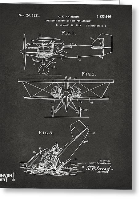 Negro Digital Greeting Cards - 1931 Aircraft Emergency Floatation Patent Gray Greeting Card by Nikki Marie Smith