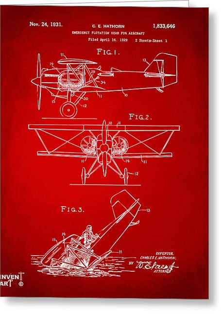 Paper Airplanes Greeting Cards - 1931 Aircraft Emergency Floatation Patent Red Greeting Card by Nikki Marie Smith