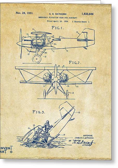 Biplane Greeting Cards - 1931 Aircraft Emergency Floatation Patent Vintage Greeting Card by Nikki Marie Smith
