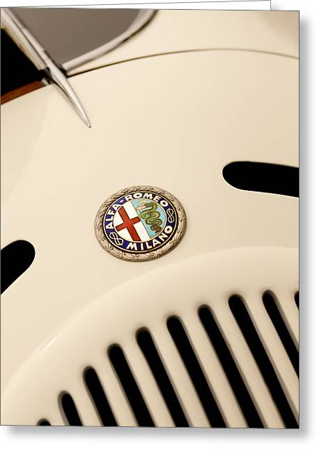 1750 Greeting Cards - 1931 Alfa Romeo 6C 1750 Gran Sport Aprile Spider Corsa Hood Emblem Greeting Card by Jill Reger