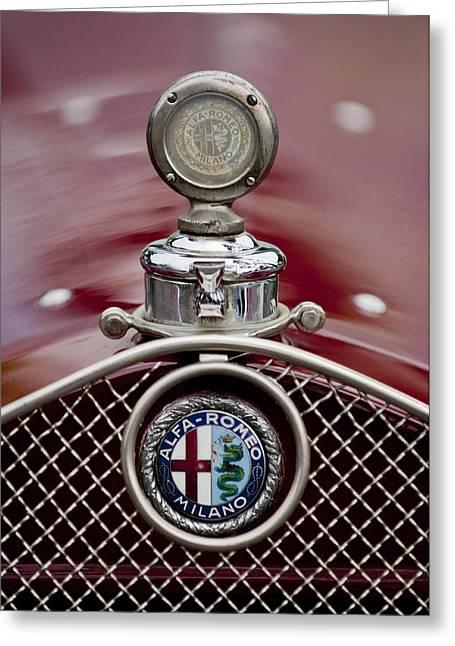 Motometer Greeting Cards - 1931 Alfa-Romeo Hood Ornament Greeting Card by Jill Reger