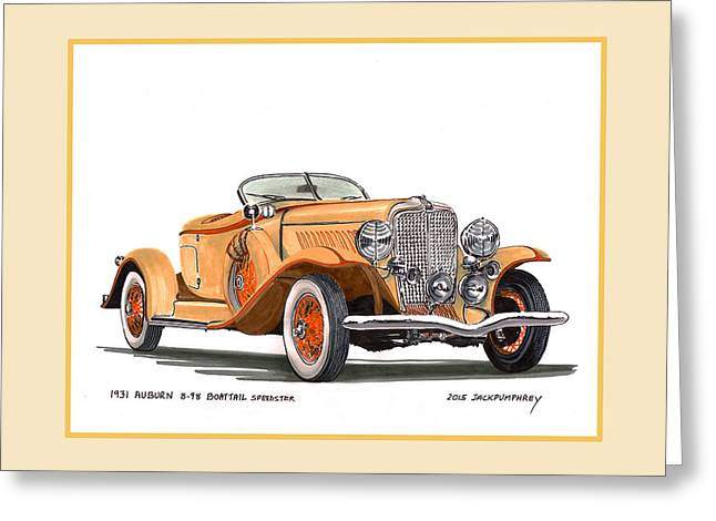 Manufacturing Paintings Greeting Cards - 1931 Auburn 8 98 Boattail Speedster Greeting Card by Jack Pumphrey