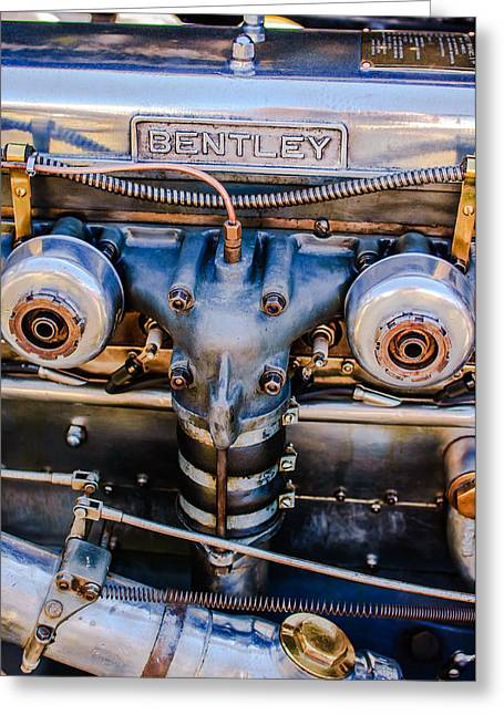 Supercharged Greeting Cards - 1931 Bentley 4.5 Liter Supercharged Le Mans Engine Emblem Greeting Card by Jill Reger