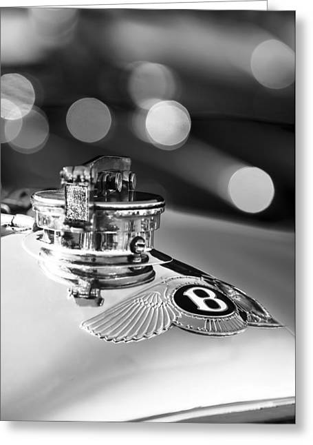 Supercharged Greeting Cards - 1931 Bentley 4.5 Liter Supercharged Le Mans Hood Emblem -1122BW Greeting Card by Jill Reger