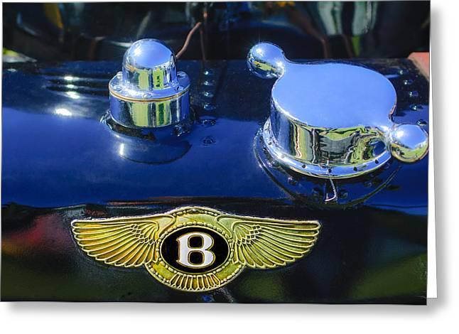 Supercharged Greeting Cards - 1931 Bentley 4.5 Liter Supercharged Le Mans Rear Emblem Greeting Card by Jill Reger