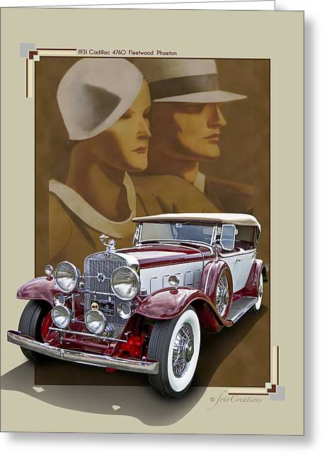 Framed Auto Art Greeting Cards - 1931 Cadillac 4760 Fleetwood Phaeton Greeting Card by Roger Beltz